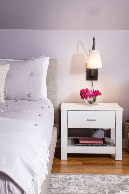 girls-bedroom-purple-white-nightstand-sconce-lighting