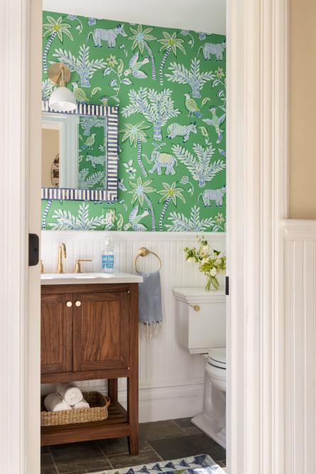 green-floral-wallpaper-powder-room-bathroom-design